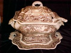MASONS BROWN VISTA  SOUP TUREEN with TRAYand LADLE