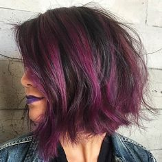 2017 Exotic Hair Color Ideas for Short Hair. Short hairstyles will always be in high demand, but one way to shake up the ordinary and add something truly unique is by mixing in color. Edgy Bob Hairstyles, Edgy Haircuts, Protective Hairstyles, Exotic Hair Color, Cool Hair Color, Edgy Hair Colors, Burgundy Hair, Purple Hair, Short Hair Cuts