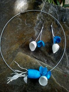 handmade silk cocoons jewelry - set No50