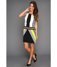 London Times Printed Block Blouson Dress Green - 6pm.com