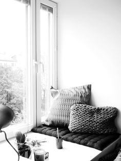 reading corner on a wide window sill