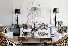 living room, animal print, black and white mix