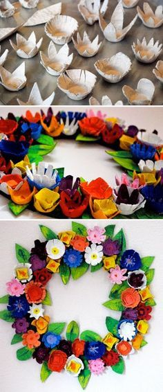 DIY 12 Paper WreathsDonate Used Books!DIY Egg carton wreath Kids Crafts, Easter Crafts, Holiday Crafts, Diy And Crafts, Craft Projects, Arts And Crafts, Upcycled Crafts, Craft Ideas, Kids Diy