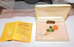 2471~Vtg Signed KREMENTZ 14k Gold Overlay Genuine Carved Jade Coral Rose Brooch~ #Krementz