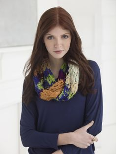 Our Providence Cowl is made with our newest yarn. LB Collection Silk Chiffon Ribbon.  Like Fettuccini, each skein is made from recycled silk scraps (instead of t-shirts) all into one. Each ball is like a surprise!