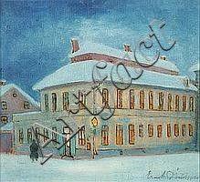 Ernst Nilsson (1892-1937): Uppsalamotiv/husexterior i vinterskrud