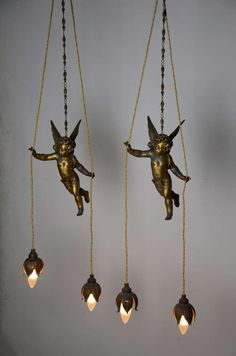 19th Century French Gilded Flying Putti Holding Flower Lamps 2 Antique Lamps, Antique Lighting, Vintage Lamps, Chandelier Pendant Lights, Modern Chandelier, Flower Lamp, Lamp Shades, Light Art, Lighting Design