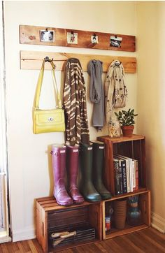 Inexpensive crates for entryway organization. Kitchen/diner, back entrance way