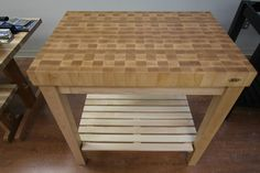 Maple Butcher Block Kitchen Cart with Maple Top by McClure Tables.