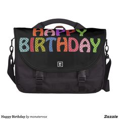 Happy Birthday Laptop Computer Bag #HappyBirthday #Birthday #Party #Celebration #Art #Laptop #Bag