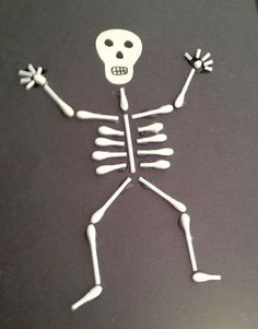 Q-Tip Skeleton - good project for elementary school kids. They got really creative with how they posed the skeletons and some even added accessories