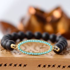 Matte Black Onyx Stretch with Gold Vermeil Oval Turquoise Connector,Designer Style Stack Bracelet, Boho Chic, Fall Bracelet,Gifts for Her on Etsy, $43.00
