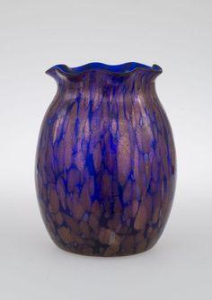 Loetz Glass Vase Bohemian Iridescent Art Nouveau Cobalt Blue & Copper