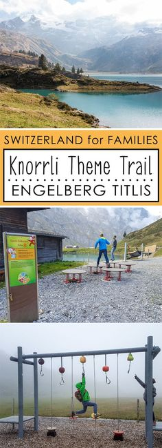 An easy family hike around an alpine lake, with eight fun interactive stations along the way, educating children about healthy eating. This is a great choice for smaller children that are learning to hike, as the trail is short and suitable for strollers. But our older kids also had a great time with the water play and puzzles. Engelberg, Car Station, Outdoor Play Areas, Alpine Lake, The Far Side, Kids Ride On, Water Play, Picnic Area, Weekend Fun