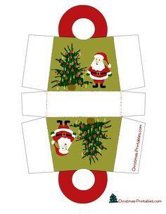 santa and tree christmas gift bag printable