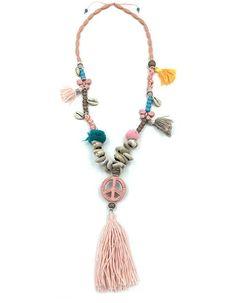2016 Boho jewelry cotton fringe tassel Bohemia Necklace Peace Symbol charm long Necklaces Sea Beach shell beaded chain necklace