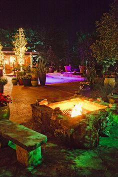 Wild Onion Ranch Wedding. Tree lighting. Outdoor lighting. Pool lighting. Festoon lighting. Photo by Nichols Photography.