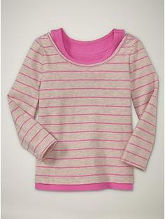 2in one layered top  hot pink stripe  14.99