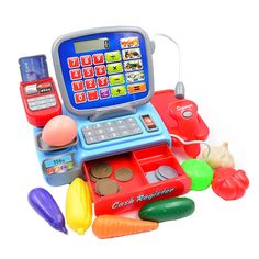 BOHS Pretend Play Toy Cashier Cash Register with Real Calculator Toys