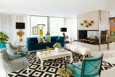 Retro living room with Jonathan Adler's furniture collection.
