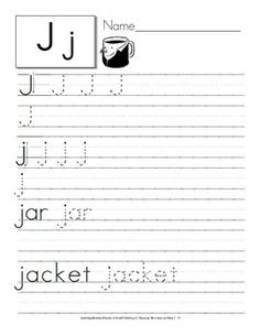 In these activities to practice writing students have to trace the letter, upper and lower case, and write the word. It follows a sequential order from arrows indicating the direction of the stroke to independent practice.