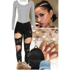 A fashion look from October 2016 featuring Puma sneakers, Hogan backpacks and Lilou necklaces. Browse and shop related looks.