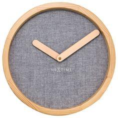 Nextime Calm Clock - Grey - fabric and wood wall clock