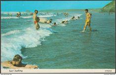 Surf Bathing, Newquay, Cornwall, 1973 - Harvey Barton Postcard