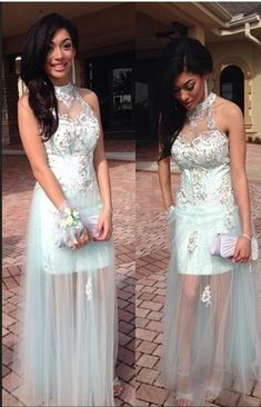 High Neck Prom dress Mint Appliqued Beaded See #prom #promdress #dress #eveningdress #evening #fashion #love #shopping #art #dress #women #mermaid #SEXY #SexyGirl #PromDresses
