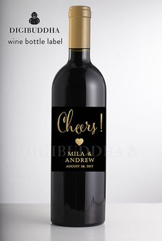 Black & Gold Glitter WEDDING WINE LABEL by digibuddhaPaperie