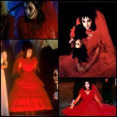 Lydia Deetz red wedding dress Beetlejuice Halloween Costume, Beetlejuice Wedding, Beetlejuice Makeup, Lydia Beetlejuice, Cute Halloween Costumes, Halloween Town, Halloween Cosplay, Halloween 2020, Edward Scissorhands Costume