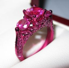 Every girl needs a pink ring or two! Punk Rock Princess, Jewelry Accessories, Fashion Accessories, Ring My Bell, Unusual Rings, Purple Diamond, Shabby Chic Pink, Diamond Are A Girls Best Friend, Beautiful Rings