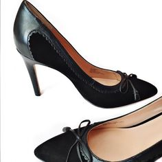 """SOLE SOCIETY Sonita pump Sonita pump- Scalloped leather trim and a dainty bow refine the classic silhouette of a single-sole suede pump. 4"""" heel Leather upper/synthetic lining and sole Size 8.5- true to size Box included Sole Society Shoes Heels"""