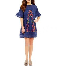 Free People Perfectly Victorian Embroidered Bell Sleeve Sheath Dress