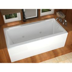 Mountain Home Stratus 30 in. x 60 in. Acrylic Whirlpool Jetted Bathtub with Front Apron.  Mountain Home aims to deliver luxury and soothing comfort with a wide selection of elegantly crafted bathtubs.