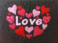 Applique design quilted and mounted on box canvas. Fabric Artwork, Applique Designs, Love Heart, Drink Sleeves, Hearts, Quilts, Elegant, Canvas, Create