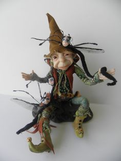 THE TROUBLE with WORMS  ooak polymer clay pose-able art doll.