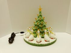 Vintage Ceramic Lighted Christmas Tree & 7 Geese - Hand Painted Holiday Display ..... Visit all of our online locations ..... (www.stores.eBay.com/variety-on-a-budget) ..... (www.amazon.com/shops/Variety-on-a-Budget) ..... (www.etsy.com/shop/VarietyonaBudget) ..... (www.bonanza.com/booths/VarietyonaBudget ) .....(www.facebook.com/VarietyonaBudgetOnlineShopping)