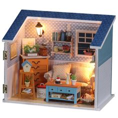 Gratis spedizione Kids Educational assieme a soggiorno casa delle bambole fai da te fai da te casa con voce-controllo LED lampade