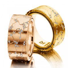 Alianzas oro amarillo y rosa con diamantes.