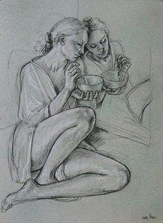 Portrait Cartoon, Portrait Sketches, Figure Sketching, Figure Drawing, Pencil Art Drawings, Art Drawings Sketches, Body Drawing, Painting & Drawing, Anatomy Sketches