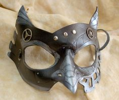 SteamOwl Black and Steel Colored Leather Steampunk by PlatyMorph