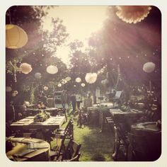summer rustic wedding, I'd like to hang paper lanterns and mason jars with candles