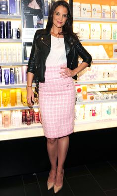 Katie Holmes Toughens Up A Chanel Tweed Skirt