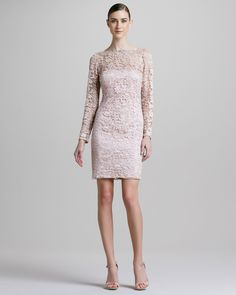 Long-Sleeve Lace-Overlay Cocktail Dress by Aidan Mattox at Neiman Marcus. Cocktail Dresses With Sleeves, Plus Size Cocktail Dresses, Formal Cocktail Dress, Lace Dress With Sleeves, Sleeve Dresses, Blush Dresses, Lace Dresses, Dress Lace, Wedding Dresses