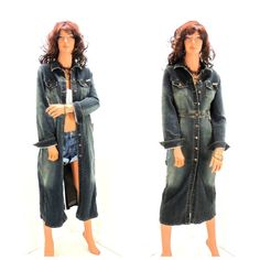 90s denim duster coat long sleeve denim dress by SunnyBohoVintage