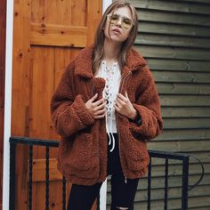 123df4043e9 Women s Fashion Winter Solid Color Casual Lapel Imitation Fur Plush Thicken  Warm Short Coat Overcoat