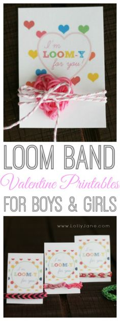 Adorable loom band gift idea for Valentine's Day! Tags for boys and tags for girls! FREE printables! {lollyjane.com}