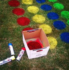 Giant-Sized Classic Games to Play Outside Grass Twister for graduation party? something for all the little cousins to doGrass Twister for graduation party? something for all the little cousins to do Fun Crafts, Crafts For Kids, Party Crafts, Kids Diy, Outdoor Fun, Outdoor Twister, Twister Game, Outdoor Parties, Backyard Games