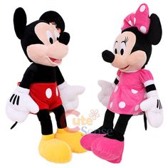 micky and minnie mouse | Details about Disney Mickey & Minnie Mouse Plush Doll -Jumbo Size 26""